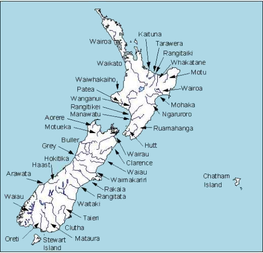 new zealand lakes map Map Of New Zealand Rivers Niwa new zealand lakes map
