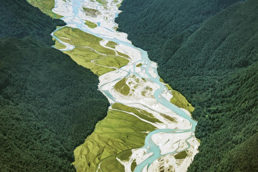 The Arawhata river winds its way from Mount Aspiring National Park towards Jackson Bay on the west coast of the South Island.
