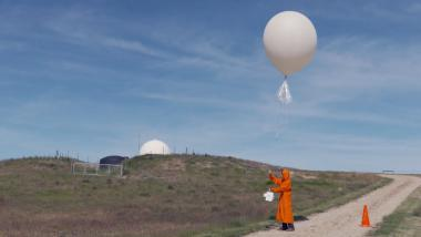 Ozone sonde launch - captured by a drone